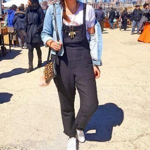 Lucky Brand Black Linen Overalls XS Viscose Pocket